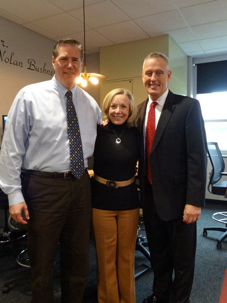 Principal Larry Tucker '79, former McDonald's US President Jan Fields, and instructor Dan Gorsky '79